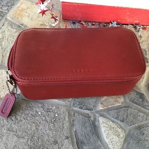 Coach Red Leather Cosmetic Case